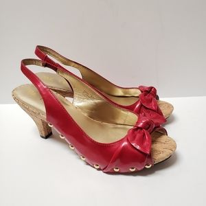 Me Too Red High Heels Cork Payton Size 8.5 M Bow